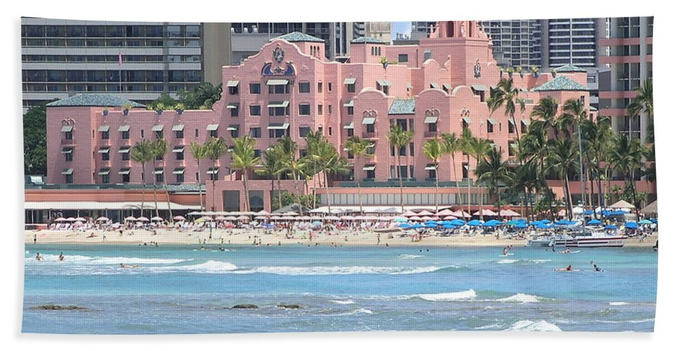 Beach Beach Towel featuring the photograph Pink Palace On Waikiki Beach by Mary Deal