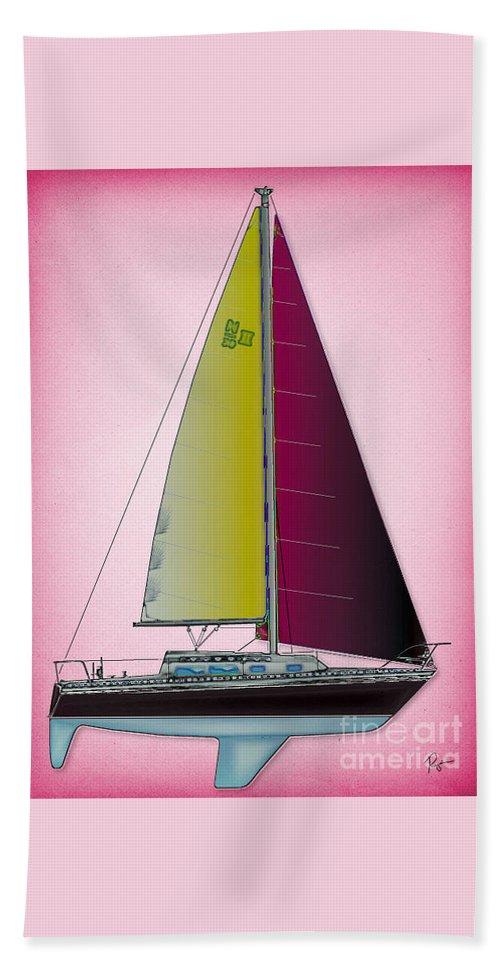 Regina Gallant Beach Towel featuring the drawing Pink Retru by Regina Marie Gallant