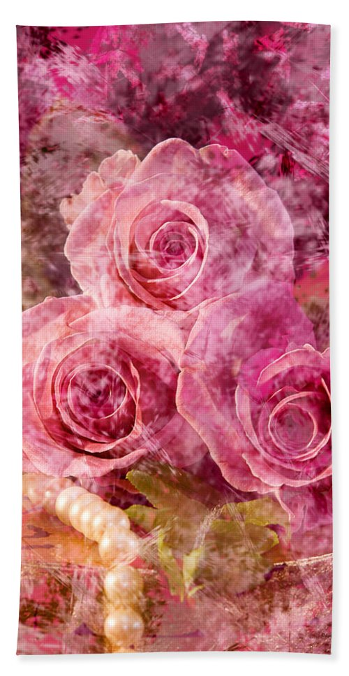 Roses Beach Towel featuring the photograph Pink Roses And Pearls by Phyllis Denton