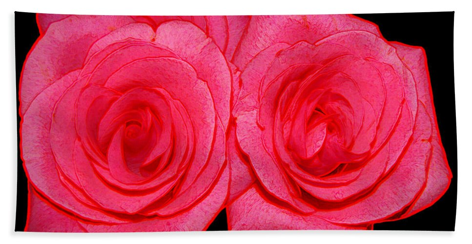 Roses Beach Towel featuring the photograph Pink Roses With Colored Edges Effects by Rose Santuci-Sofranko