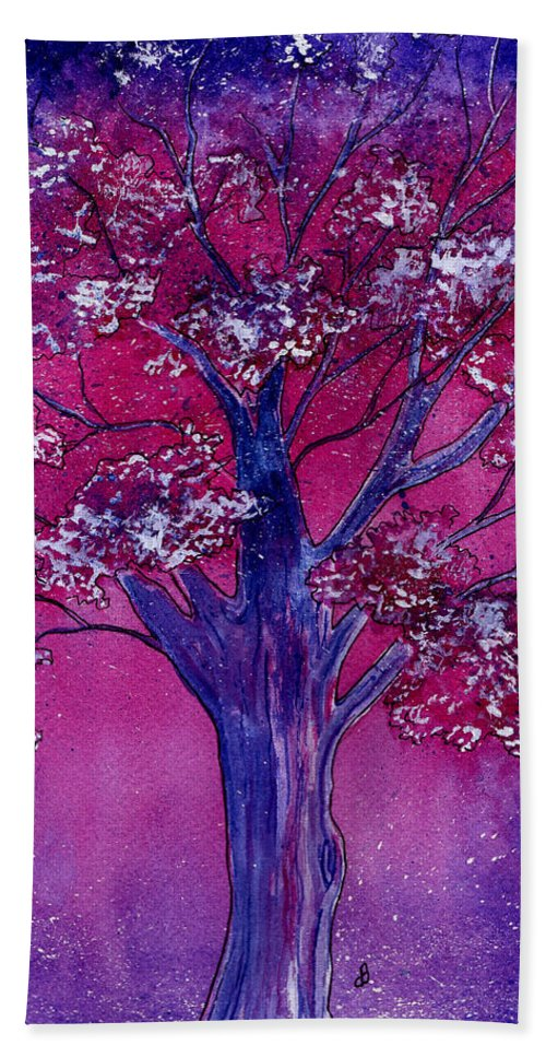 Watercolor Beach Towel featuring the painting Pink Spring Awakening by Brenda Owen
