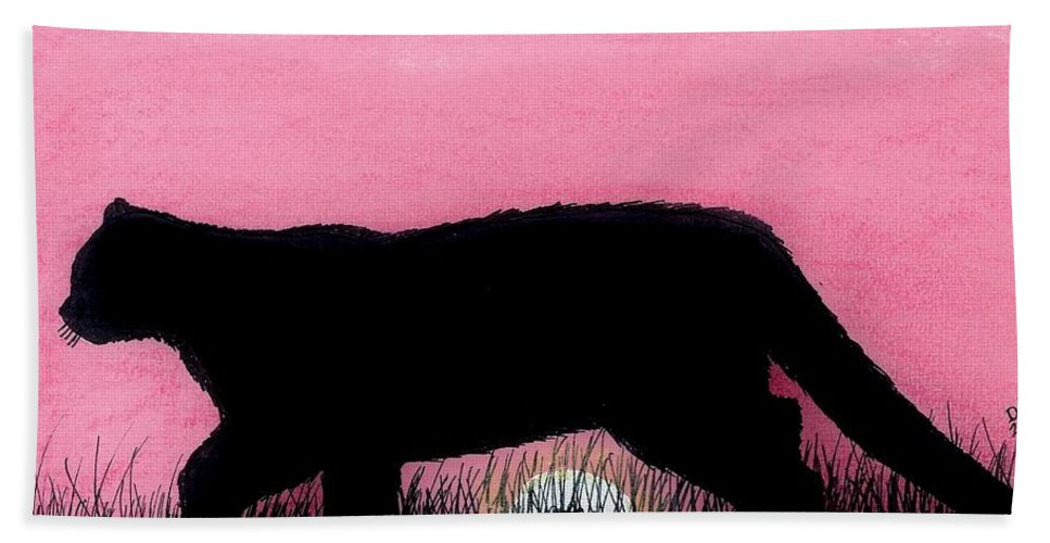 Cougar Beach Towel featuring the drawing Pink - Sunset - Panther by D Hackett