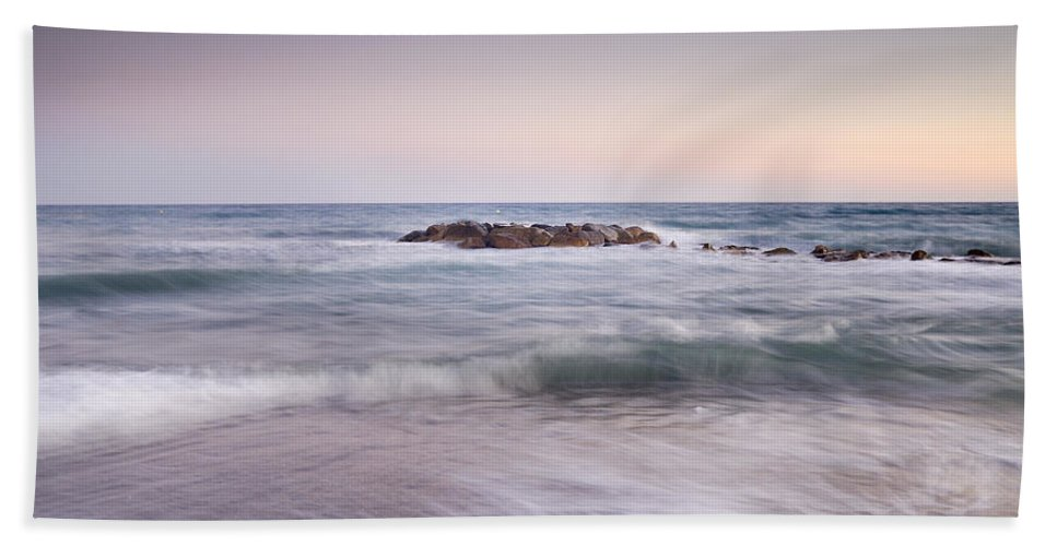 Seascape Beach Towel featuring the photograph Pink Waves by Guido Montanes Castillo