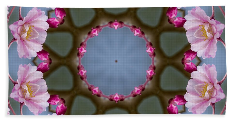 Pink Beach Towel featuring the photograph Pink Weeping Cherry Blossom Kaleidoscope by Kathy Clark