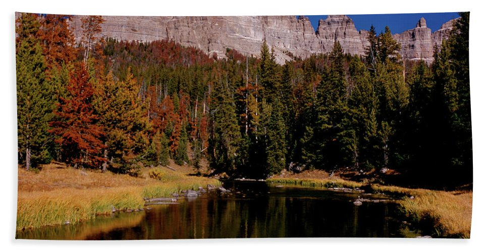 Mountains Beach Towel featuring the photograph Pinnacle Buttes On Brooks Lake Creek Rocky Mountains by Ed Riche