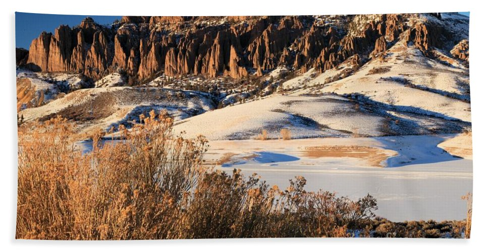 Dillon Pinnacles Beach Towel featuring the photograph Pinnacles Sunset by Adam Jewell
