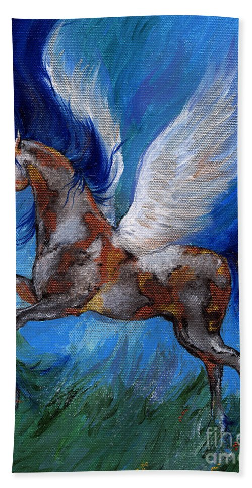 Fairytale Beach Towel featuring the painting Pinto Pegasus With Blue Mane by Angel Ciesniarska