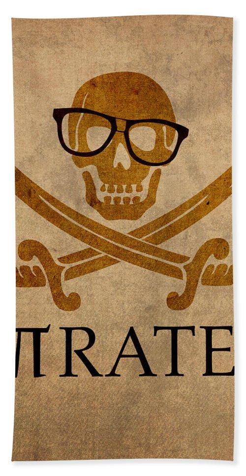 Pirate Math Nerd Humor Poster Art Pi Formula Beach Towel featuring the mixed media Pirate Math Nerd Humor Poster Art by Design Turnpike