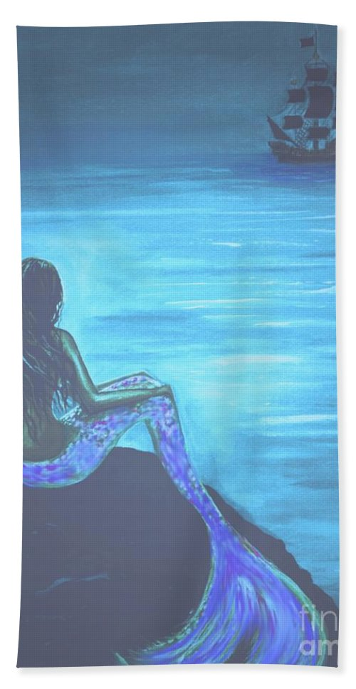 Mermaid Painting Beach Towel featuring the painting Pirates Farewell by Leslie Allen