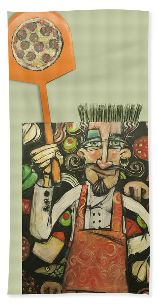 Pizza Beach Towel featuring the painting Pizza Chef Quickfire by Tim Nyberg
