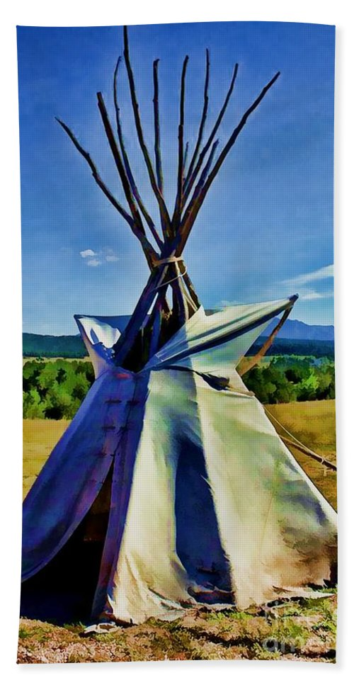 Native American Beach Towel featuring the digital art Plains Tribes Teepee by Tommy Anderson