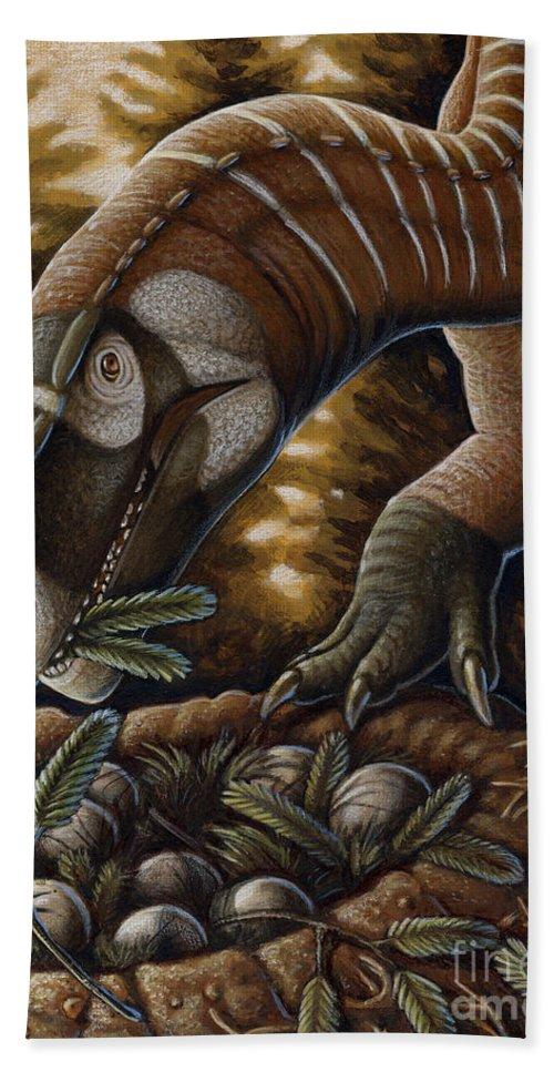 Illustration Technique Beach Towel featuring the digital art Plateosaurus Dinosaur Nest by H. Kyoht Luterman