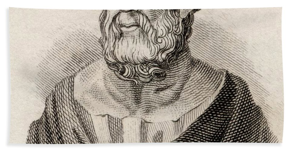 Educator; Author; Beard; Bearded; Moustache; Intellectual; Male; Portrait; Scholar Beach Towel featuring the drawing Plato From Crabbes Historical Dictionary by English School