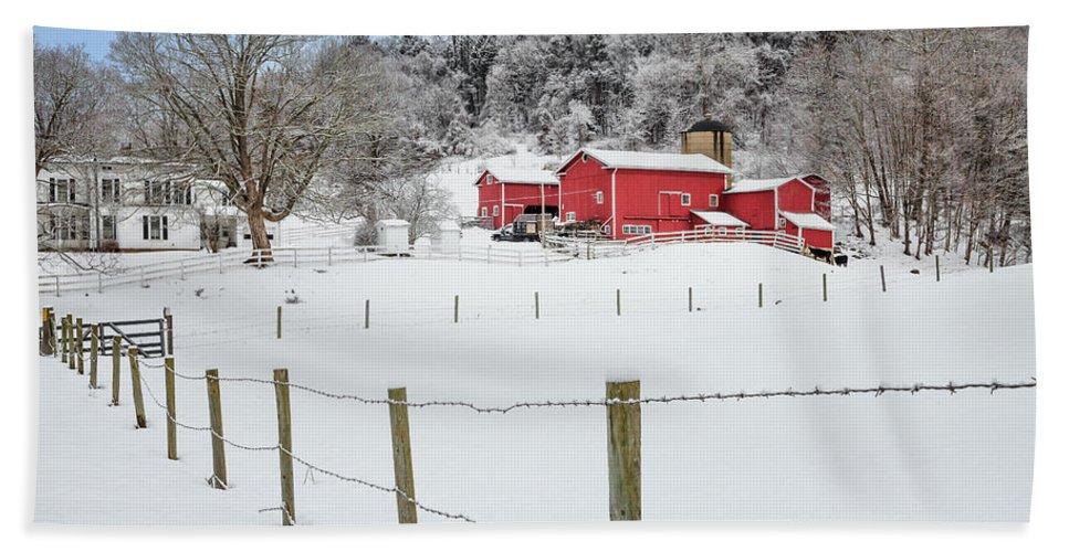 Old Red Barn Beach Towel featuring the photograph Platt Farm by Bill Wakeley