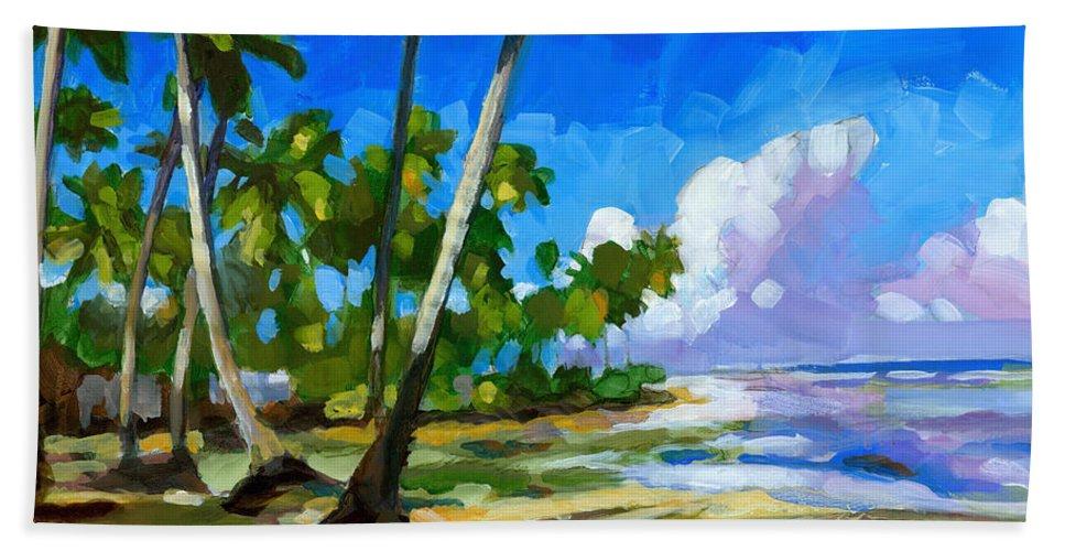 Beach Beach Towel featuring the painting Playa Bonita by Douglas Simonson