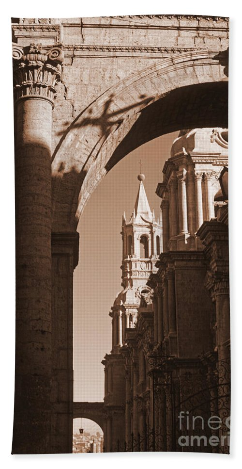 Archway Beach Towel featuring the photograph Plaza De Armas  Arequipa  Peru - Sepia by J L Woody Wooden