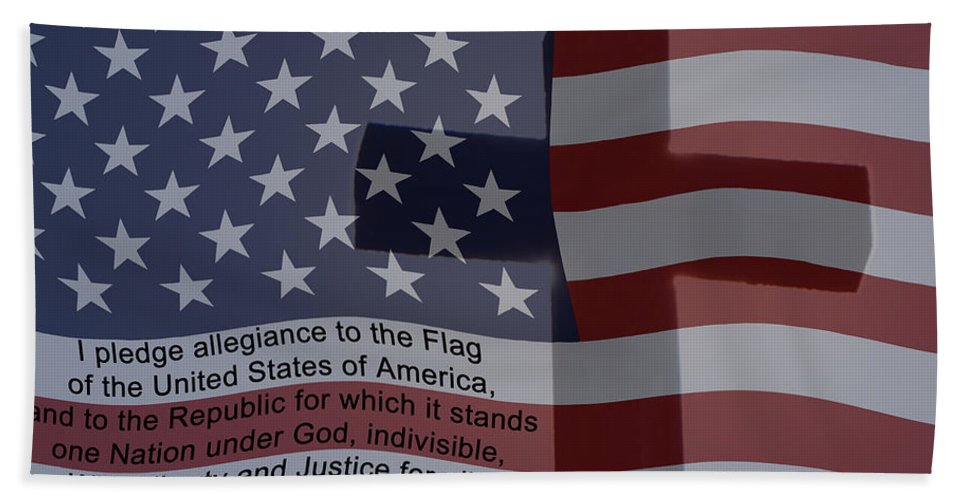 Pledge Of Allegiance Beach Towel featuring the digital art Pledge Of Allegiance by Ernie Echols