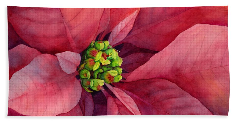 Poinsettia Beach Towel featuring the painting Plum Poinsettia by Hailey E Herrera