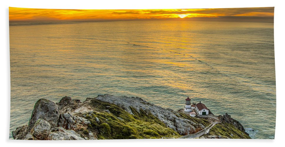 Point Reyes Lighthouse Beach Towel featuring the photograph Point Reyes Lighthouse by Chris Austin