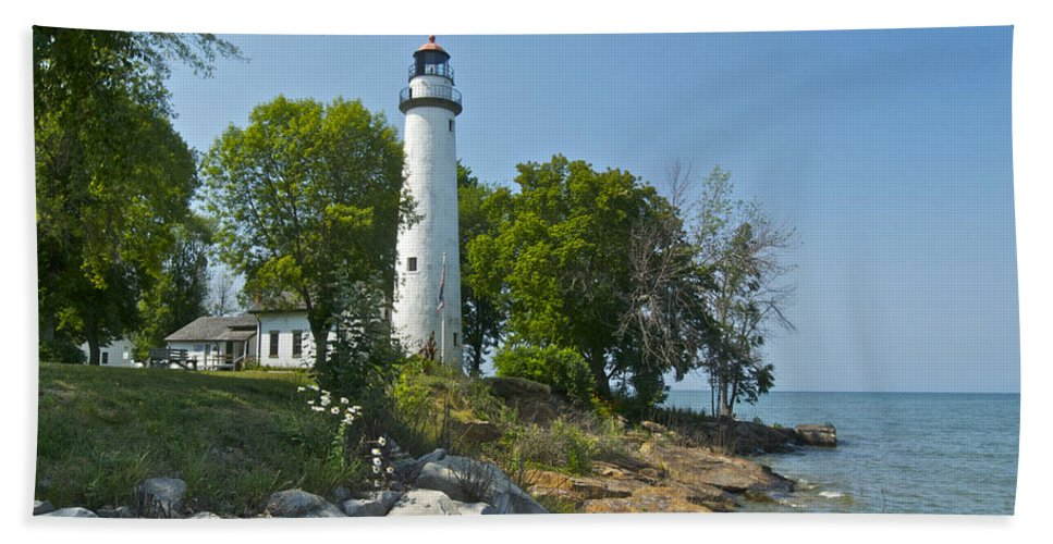 Landscape Beach Towel featuring the photograph Pointe Aux Barques Lighthouse by Michael Peychich