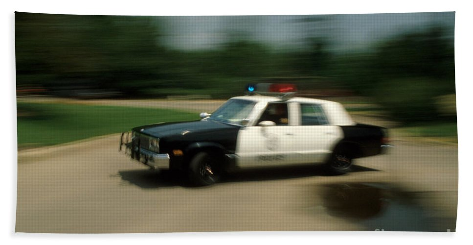 Police Beach Towel featuring the photograph Police Car by Jerry McElroy