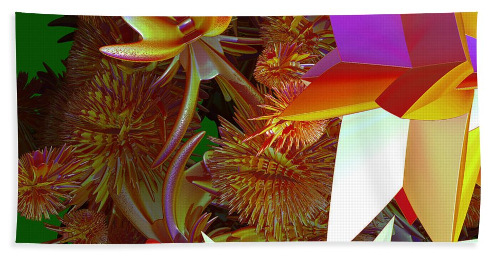 First Star Beach Towel featuring the digital art Pollination By Jammer by First Star Art