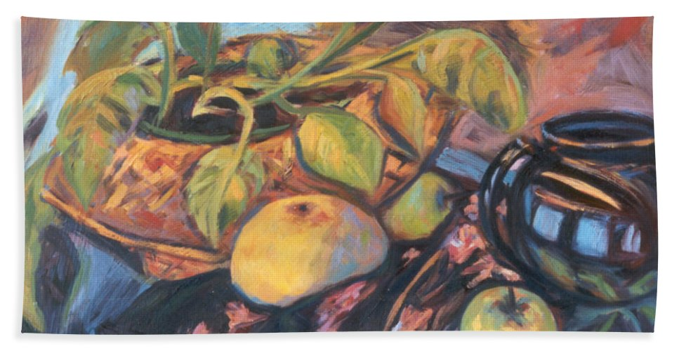 Still Life Beach Towel featuring the painting Pollys Plant by Kendall Kessler