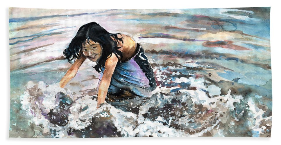 Travel Beach Towel featuring the painting Polynesian Child Playing With Water by Miki De Goodaboom