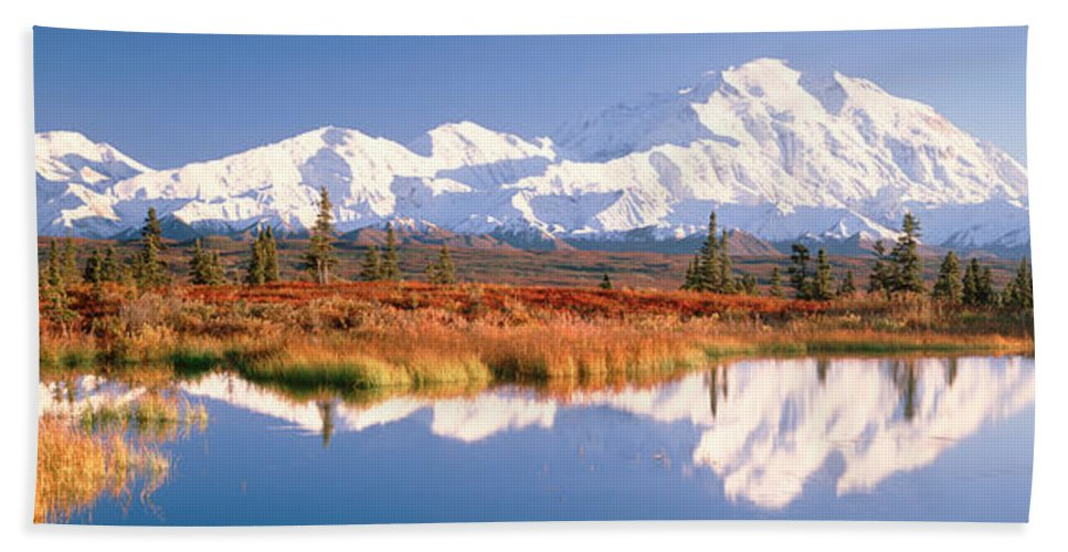 Photography Beach Towel featuring the photograph Pond, Alaska Range, Denali National by Panoramic Images
