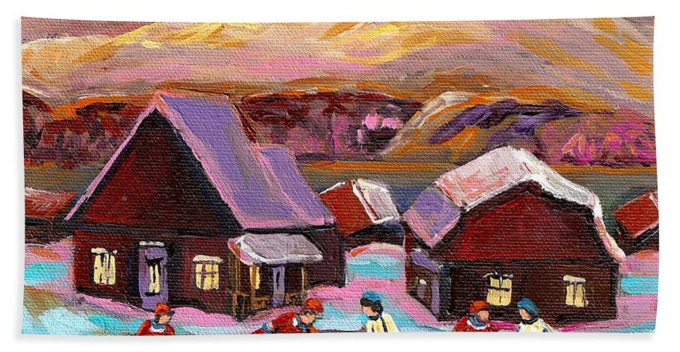 Pond Hockey Beach Towel featuring the painting Pond Hockey 1 by Carole Spandau