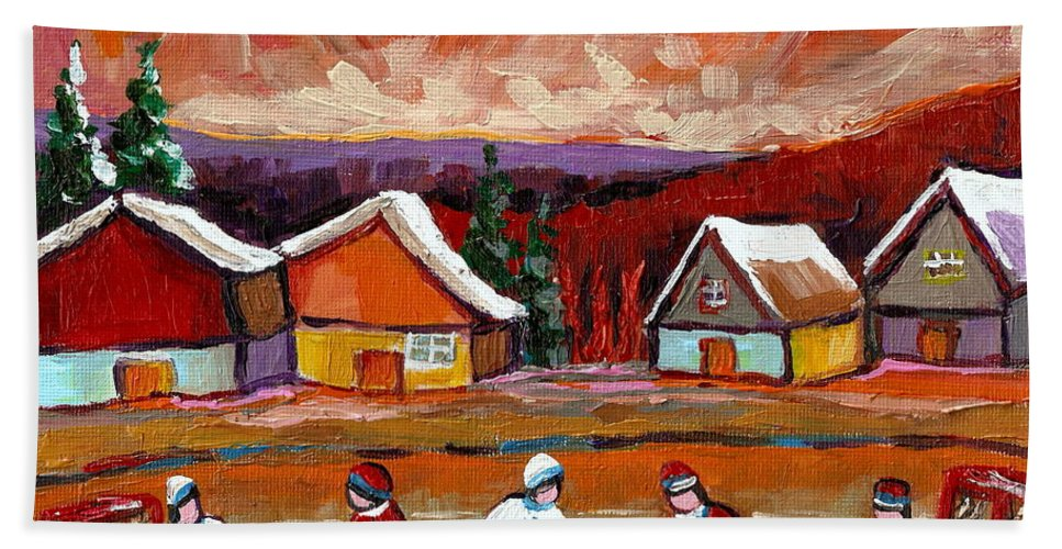 Pond Hockey Beach Towel featuring the painting Pond Hockey Game 2 by Carole Spandau
