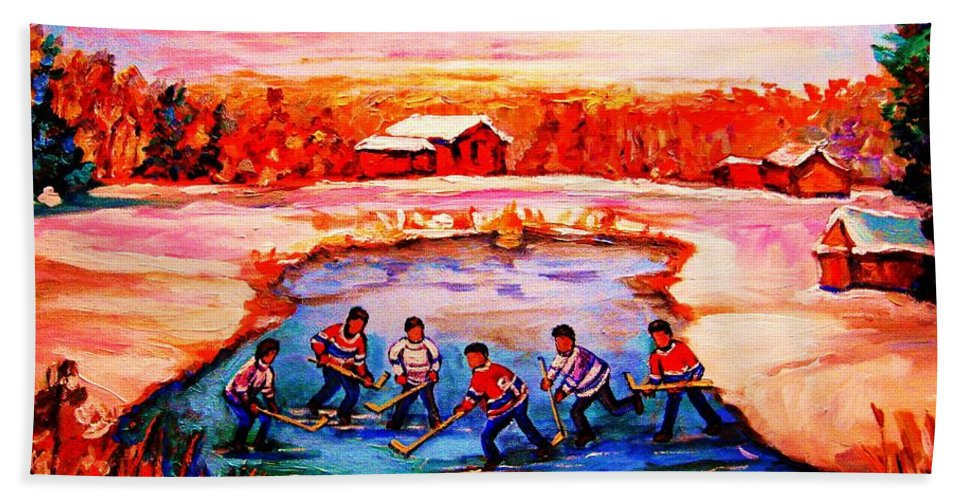 Pond Hockey Beach Towel featuring the painting Pond Hockey Game By Montreal Hockey Artist Carole Spandau by Carole Spandau
