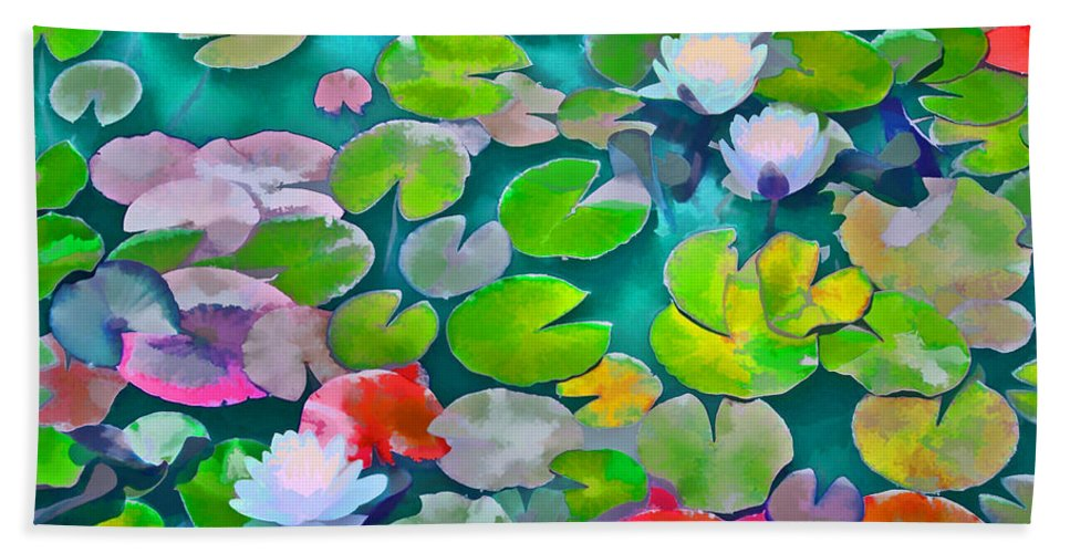 Pond Lilies Beach Towel featuring the photograph Pond Lily 5 by Pamela Cooper