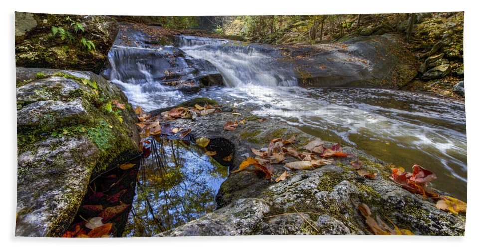 Appalachia Beach Towel featuring the photograph Pool Reflections by Debra and Dave Vanderlaan