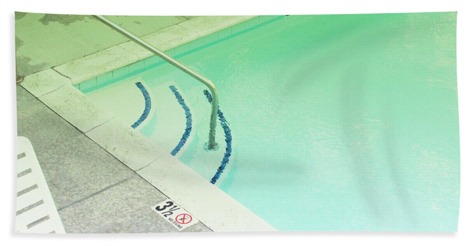 Pool Beach Towel featuring the photograph Pool Steps Shallow End by Kathleen Grace