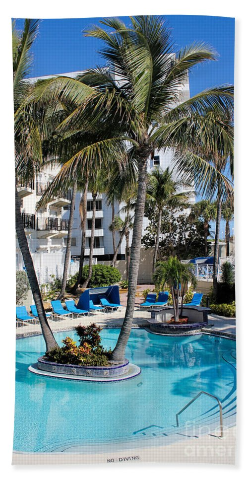Pool Beach Towel featuring the photograph Poolside 02 by Carlos Diaz