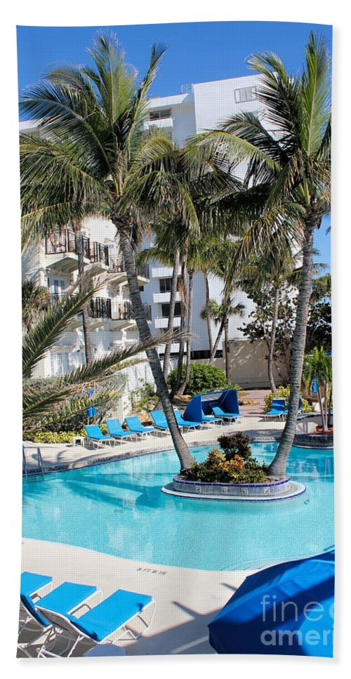 Pool Beach Towel featuring the photograph Miami Beach Poolside 03 by Carlos Diaz