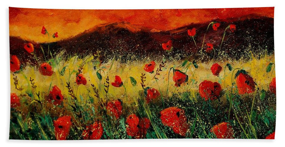 Poppies Beach Sheet featuring the painting Poppies 68 by Pol Ledent