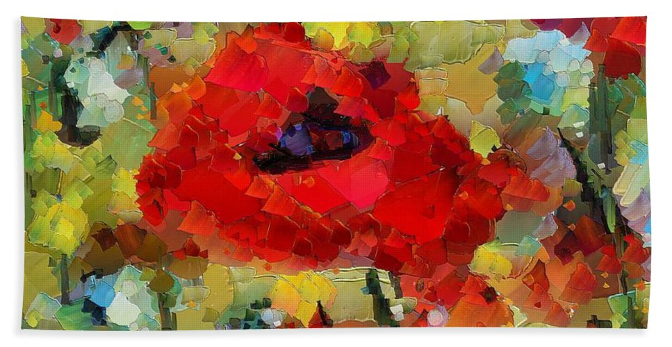 Flowers Beach Towel featuring the mixed media Poppies by Dragica Micki Fortuna