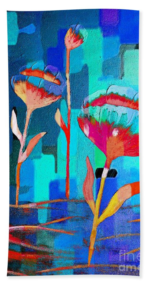 Poppies On Blue 1 Beach Towel featuring the painting Poppies On Blue 1 by Barbara Griffin