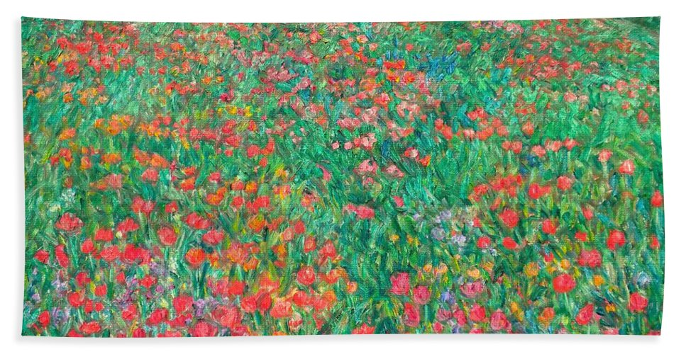Poppy Beach Towel featuring the painting Poppy View by Kendall Kessler