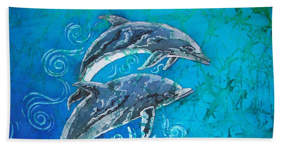 Porpoise Beach Towel featuring the painting Porpoise Pair by Sue Duda