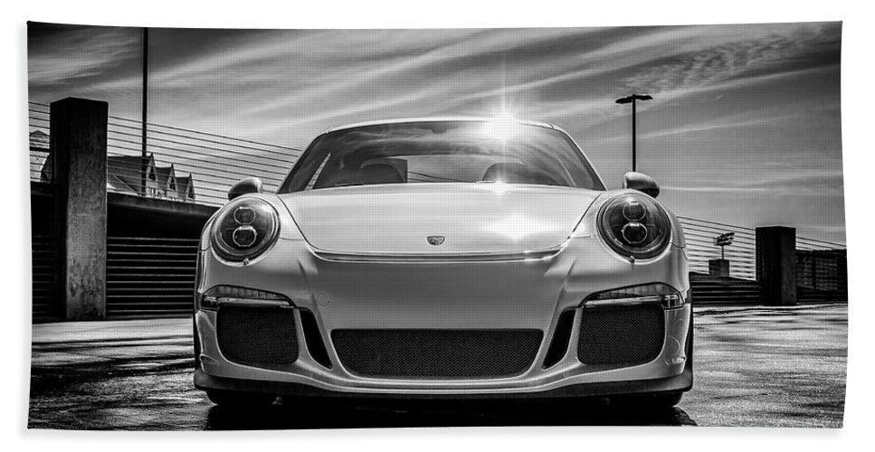 Porsche Beach Towel featuring the digital art Porsche 911 Gt3 by Douglas Pittman