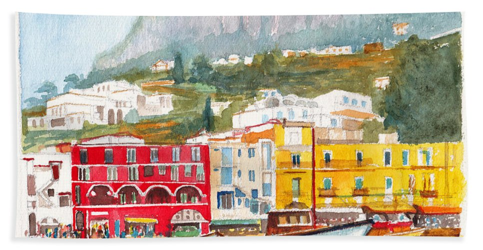 Port Beach Towel featuring the painting Port Of Capri by Dai Wynn