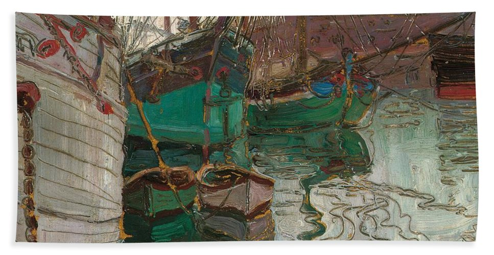 Boat Beach Towel featuring the painting Port Of Trieste by Egon Schiele