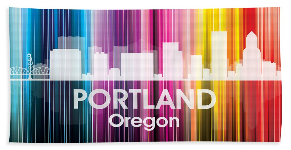 Portland Beach Towel featuring the mixed media Portland Or 2 by Angelina Vick