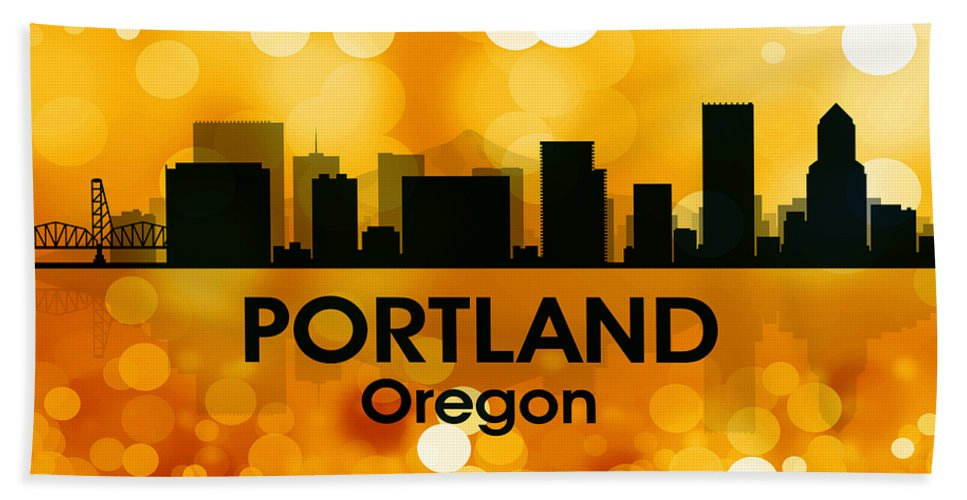 Portland Beach Towel featuring the mixed media Portland Or 3 by Angelina Vick