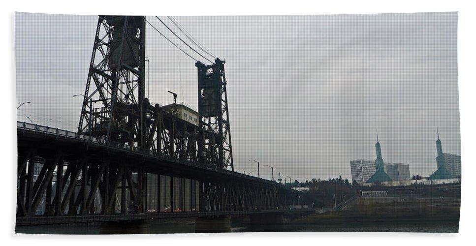 Portland Oregon Beach Towel featuring the photograph Portland Oregon Steel Bridge by Elizabeth Rose