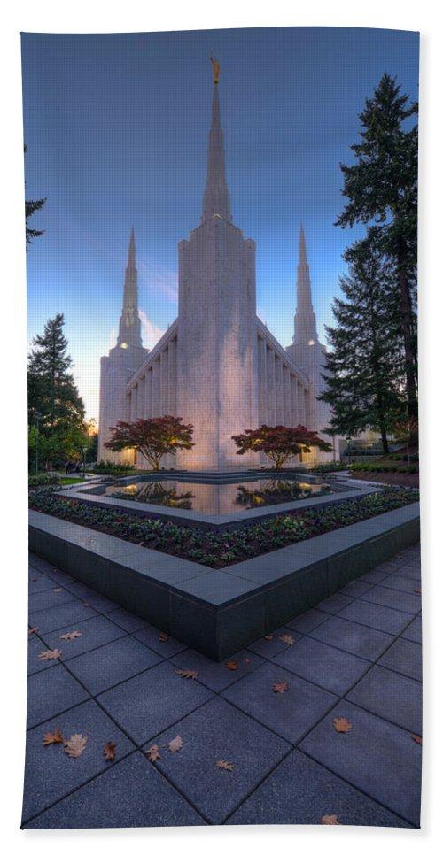 Temple Beach Towel featuring the photograph Portland Temple by Dustin LeFevre