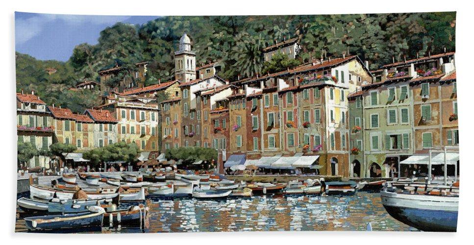 Portofino Beach Towel featuring the painting Portofino by Guido Borelli